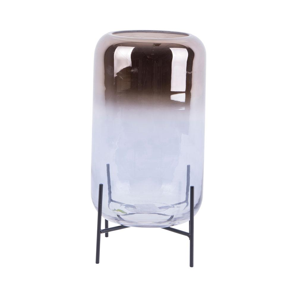 Olvenza large glass vase silver