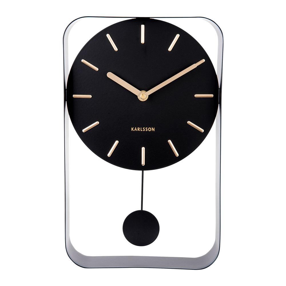 Endolo small pendulum wall clock in steel black