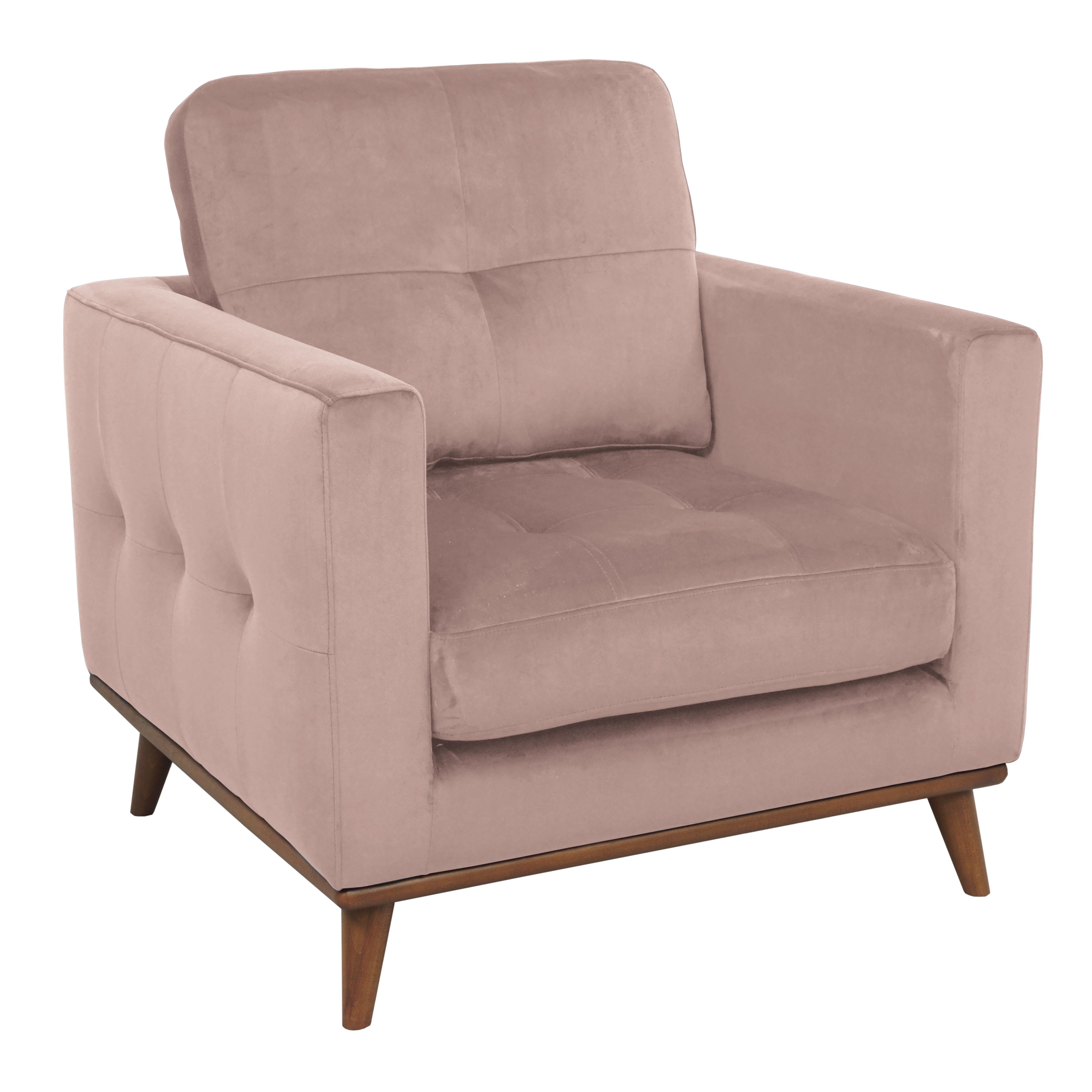 Albi armchair alba velvet dusky pink
