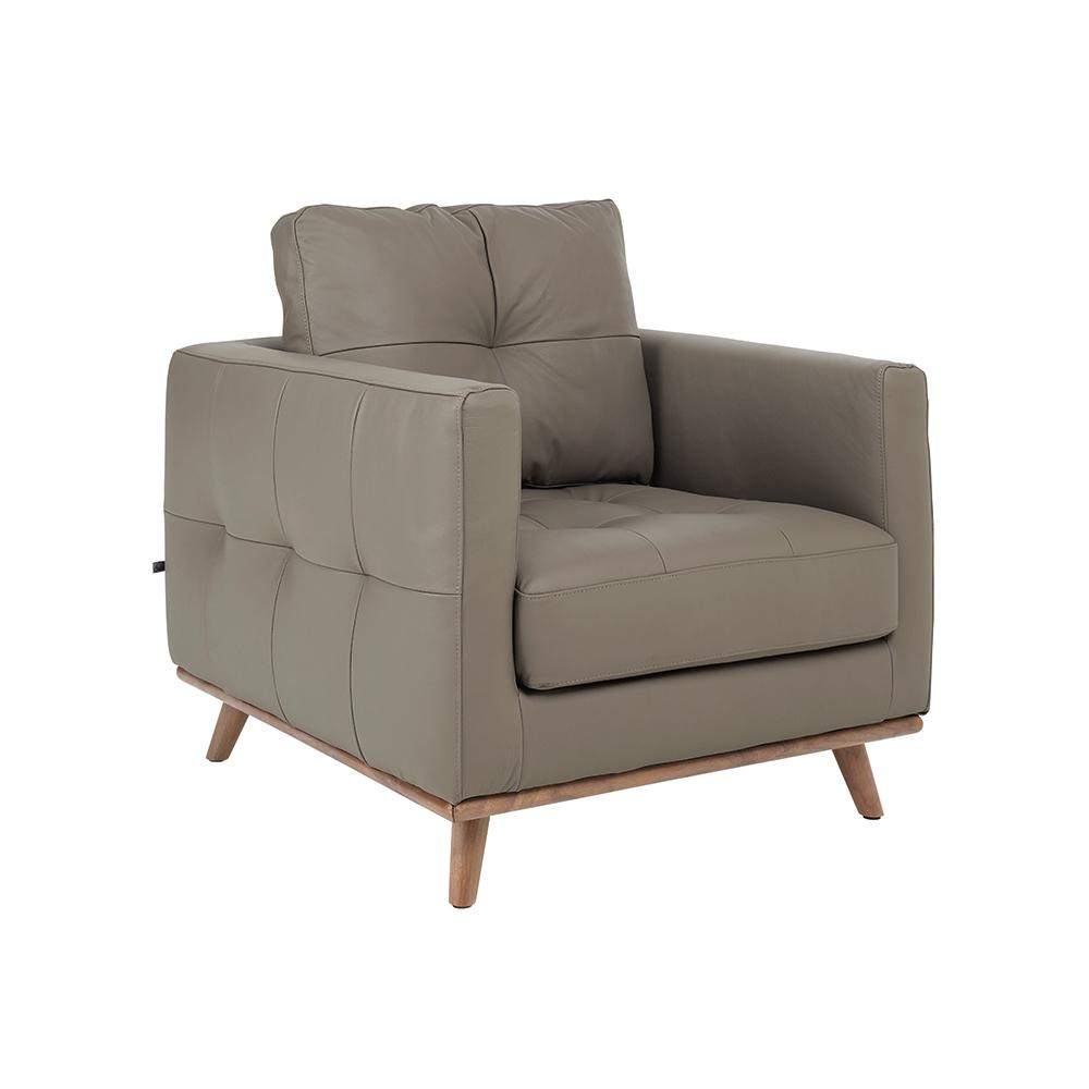 Albi armchair grano leather dove grey