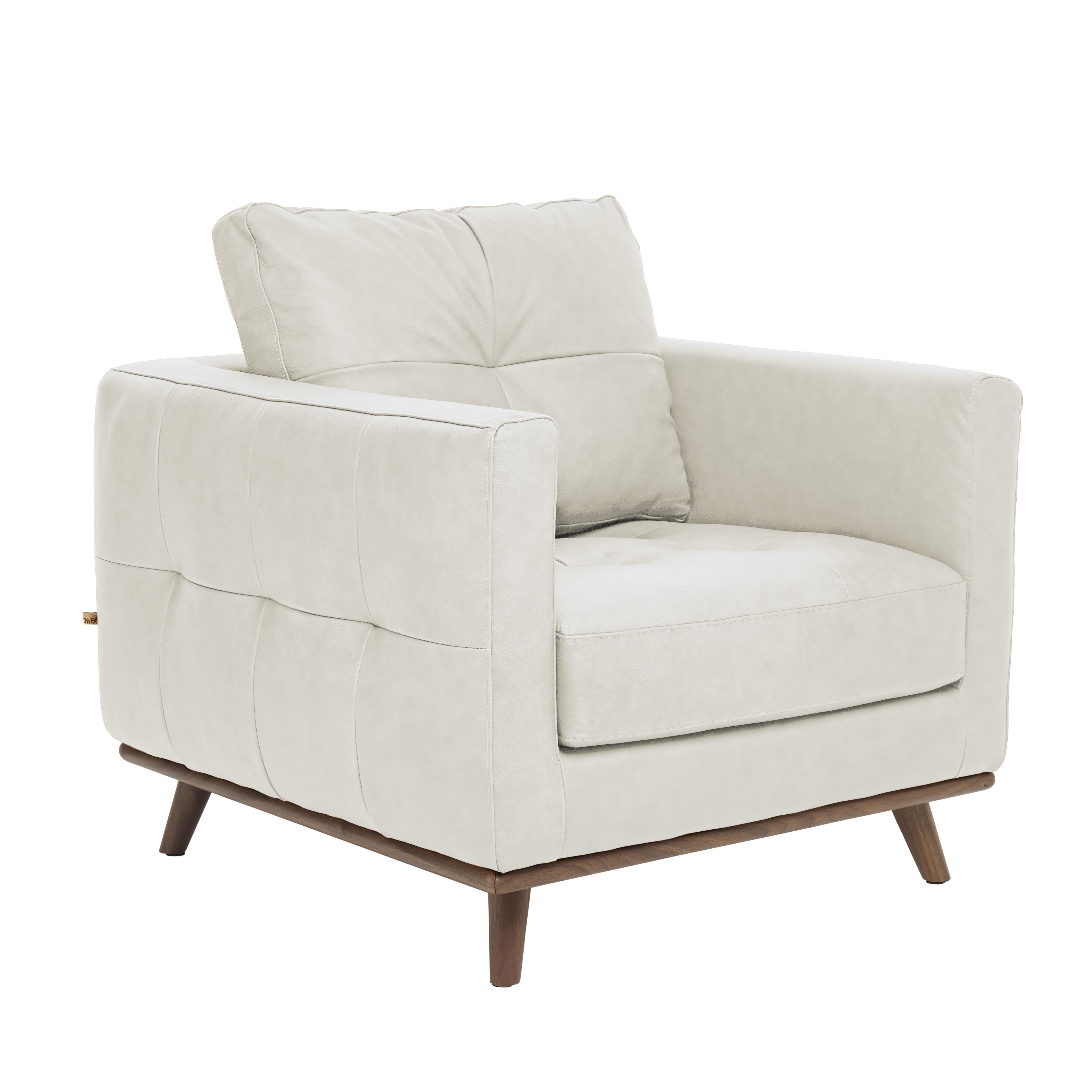 Albi armchair mollis leather chalk white