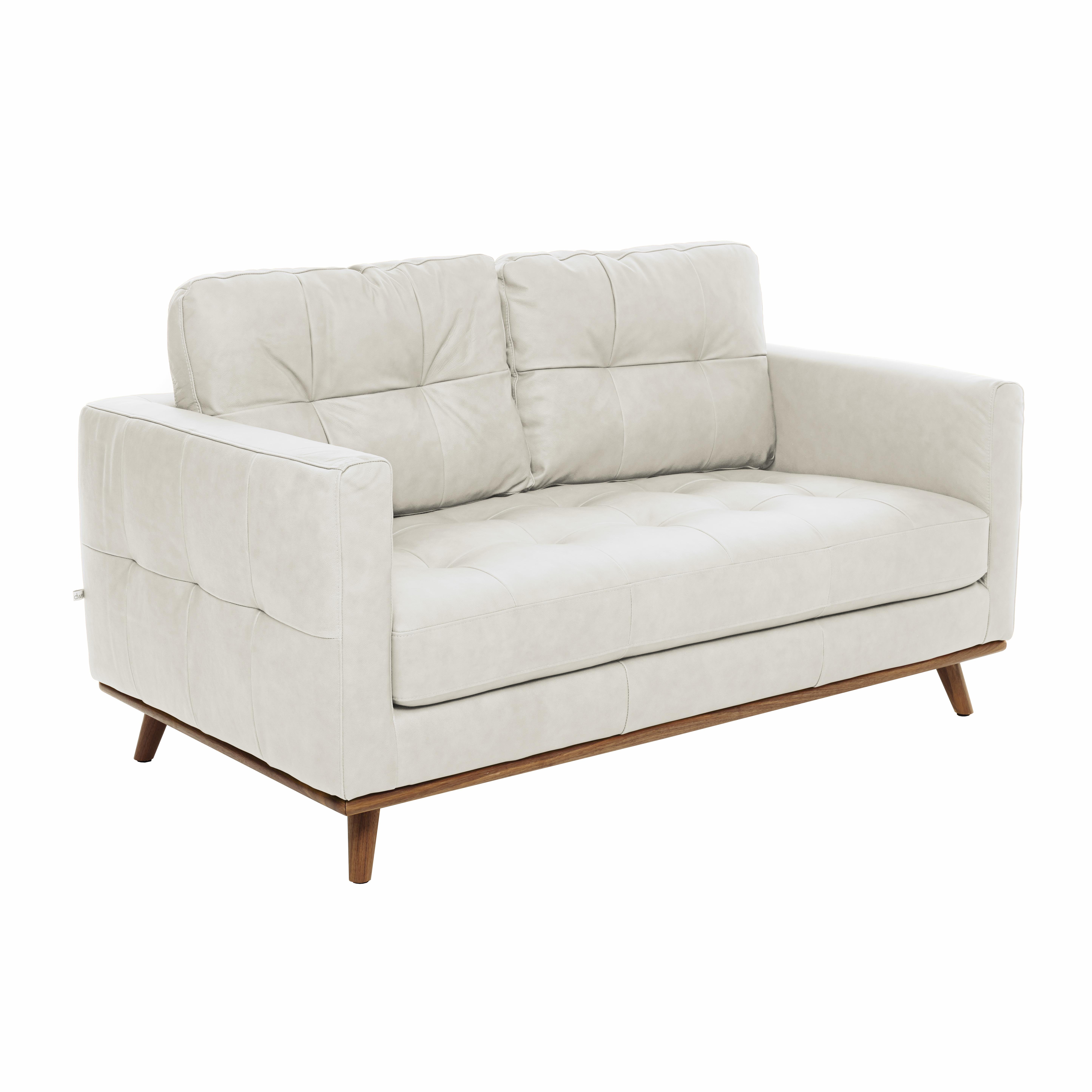 Albi two seater sofa mollis leather chalk white
