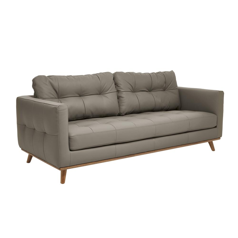 Albi three seater sofa grano leather dove grey
