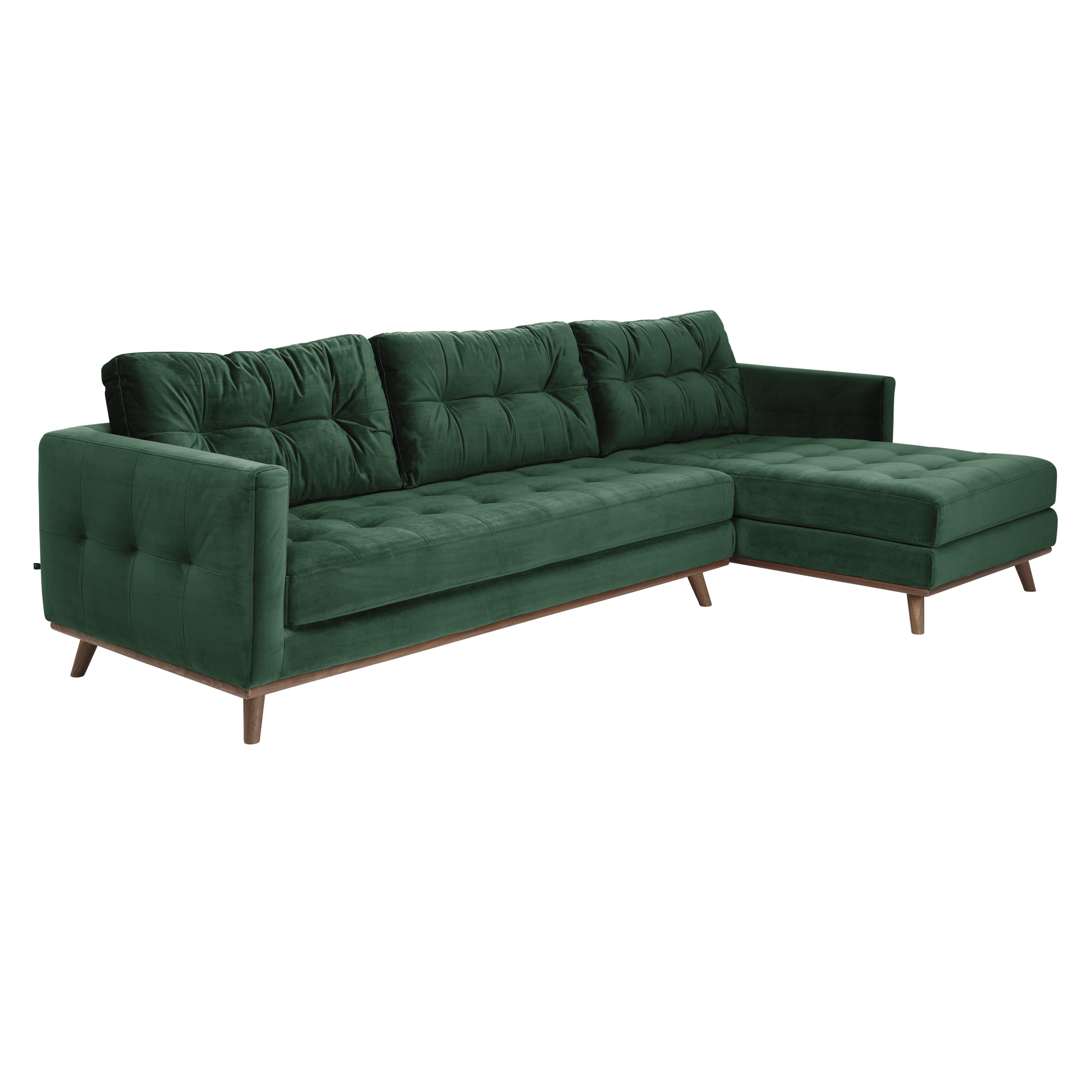 Albi right hand facing four seater chaise sofa alba velvet forest green