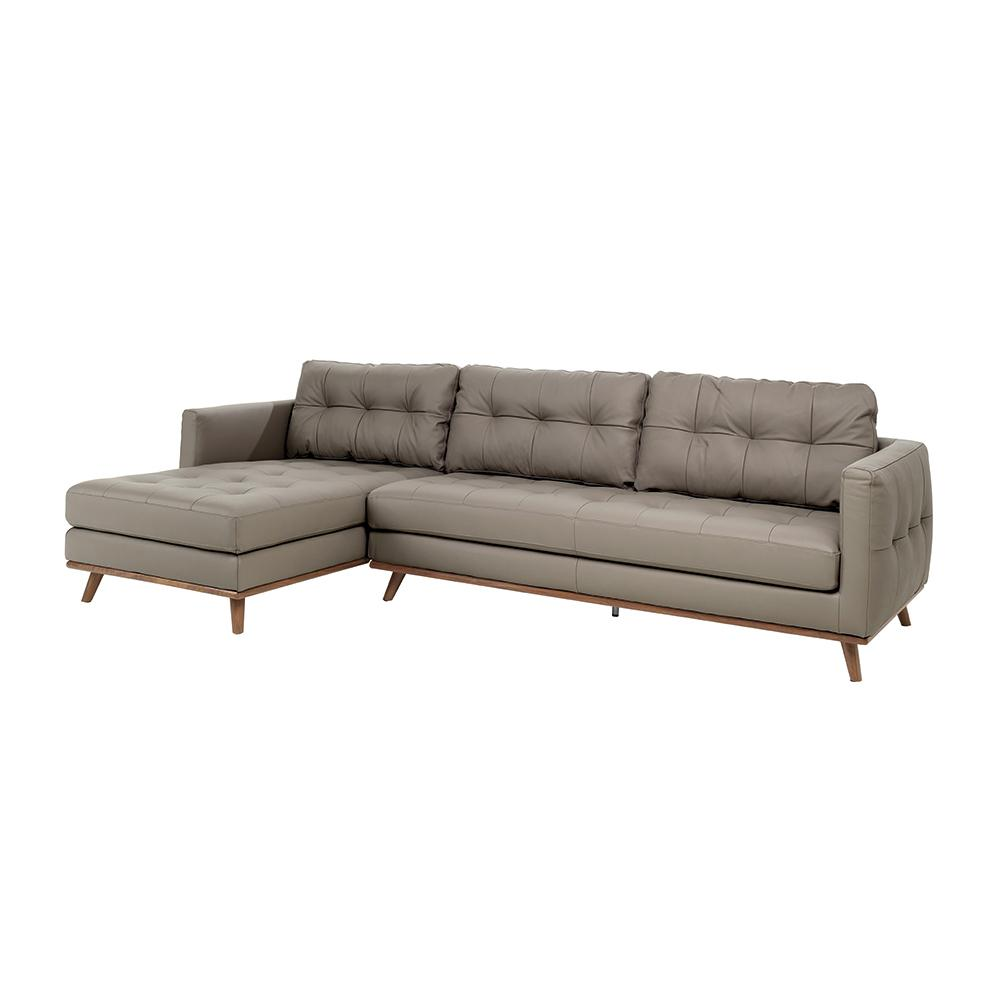 Albi left hand facing four seater chaise sofa grano leather dove grey