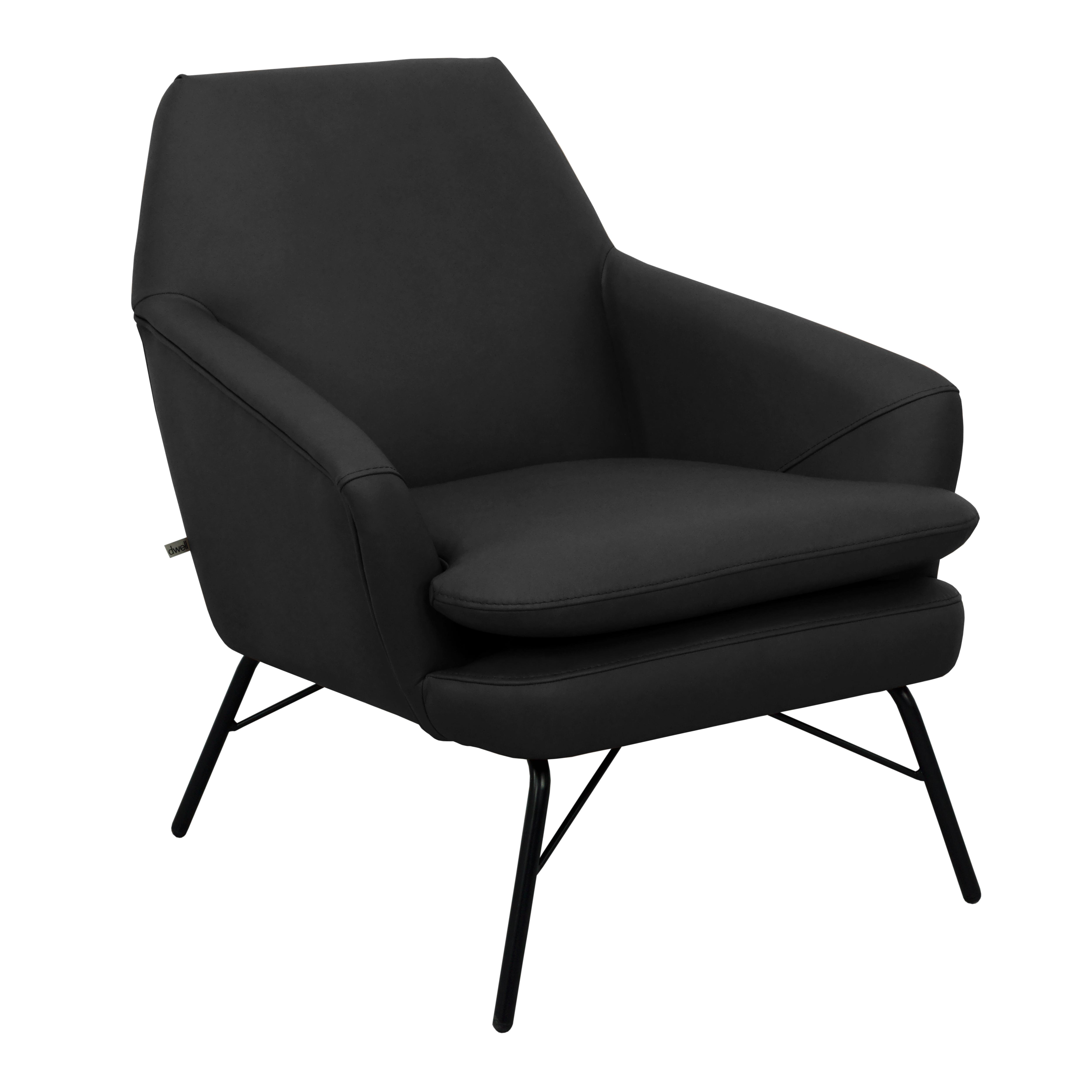 Acuta accent chair mollis leather ink black