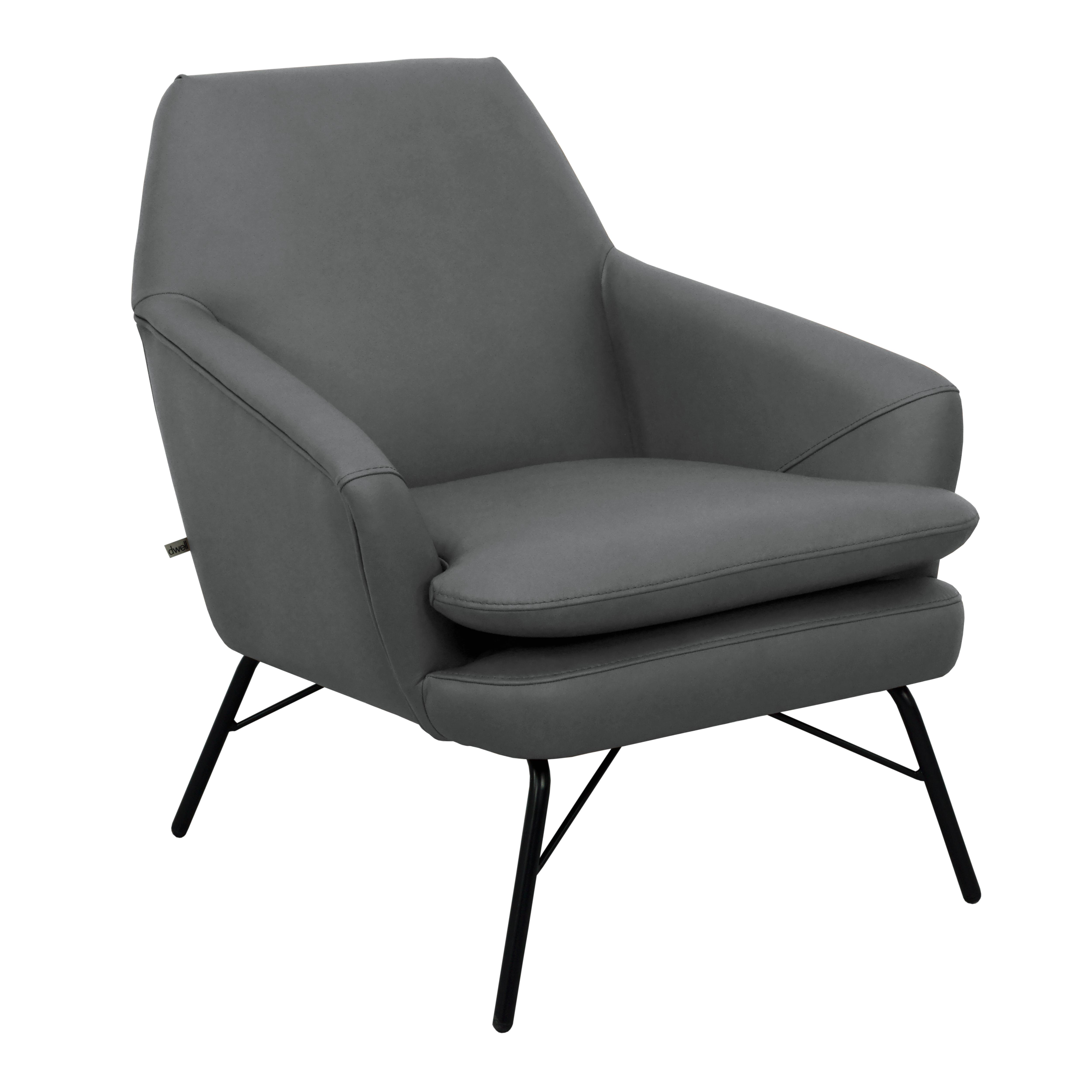Acuta accent chair mollis leather light grey