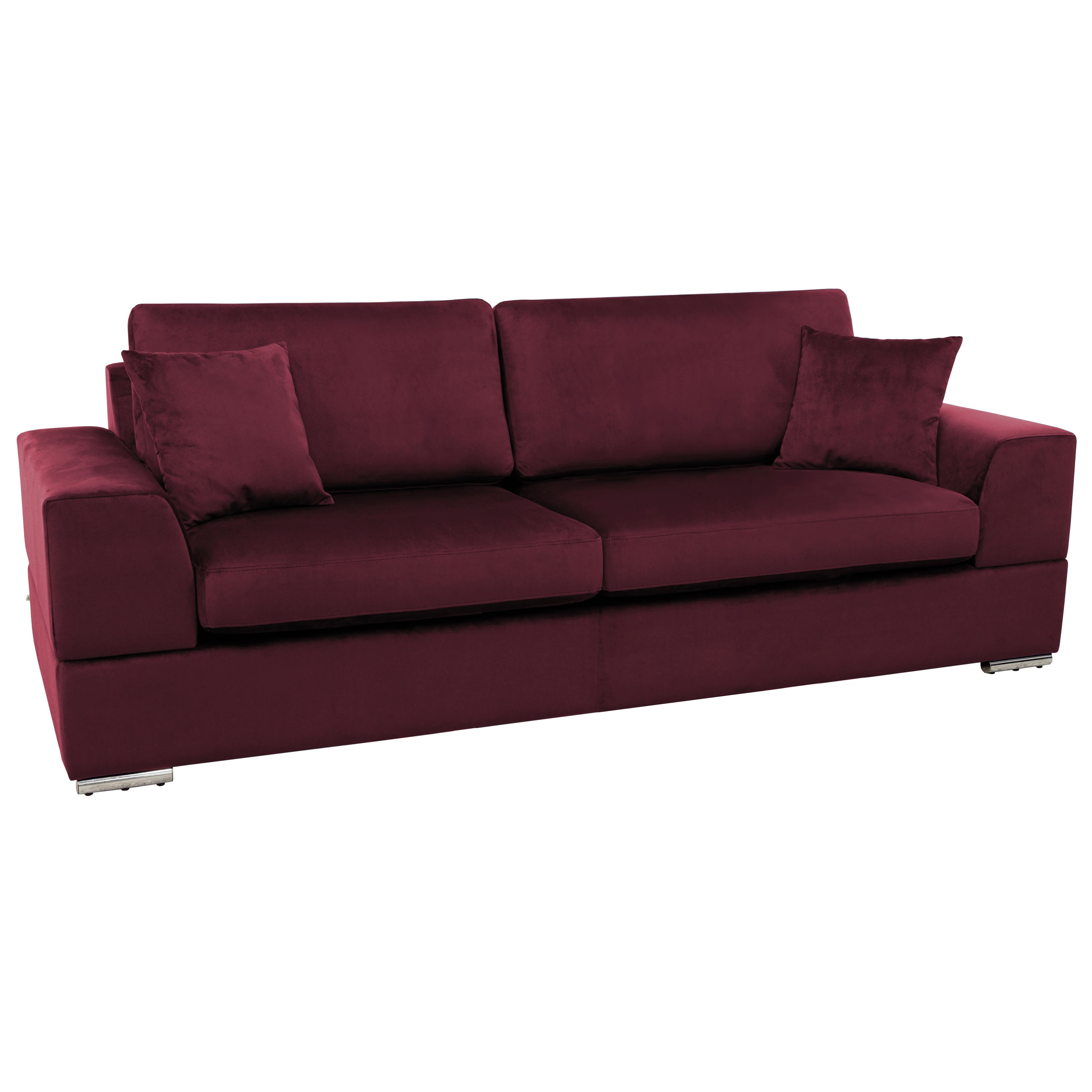 Varenna three seater sofabed alba velvet burgundy