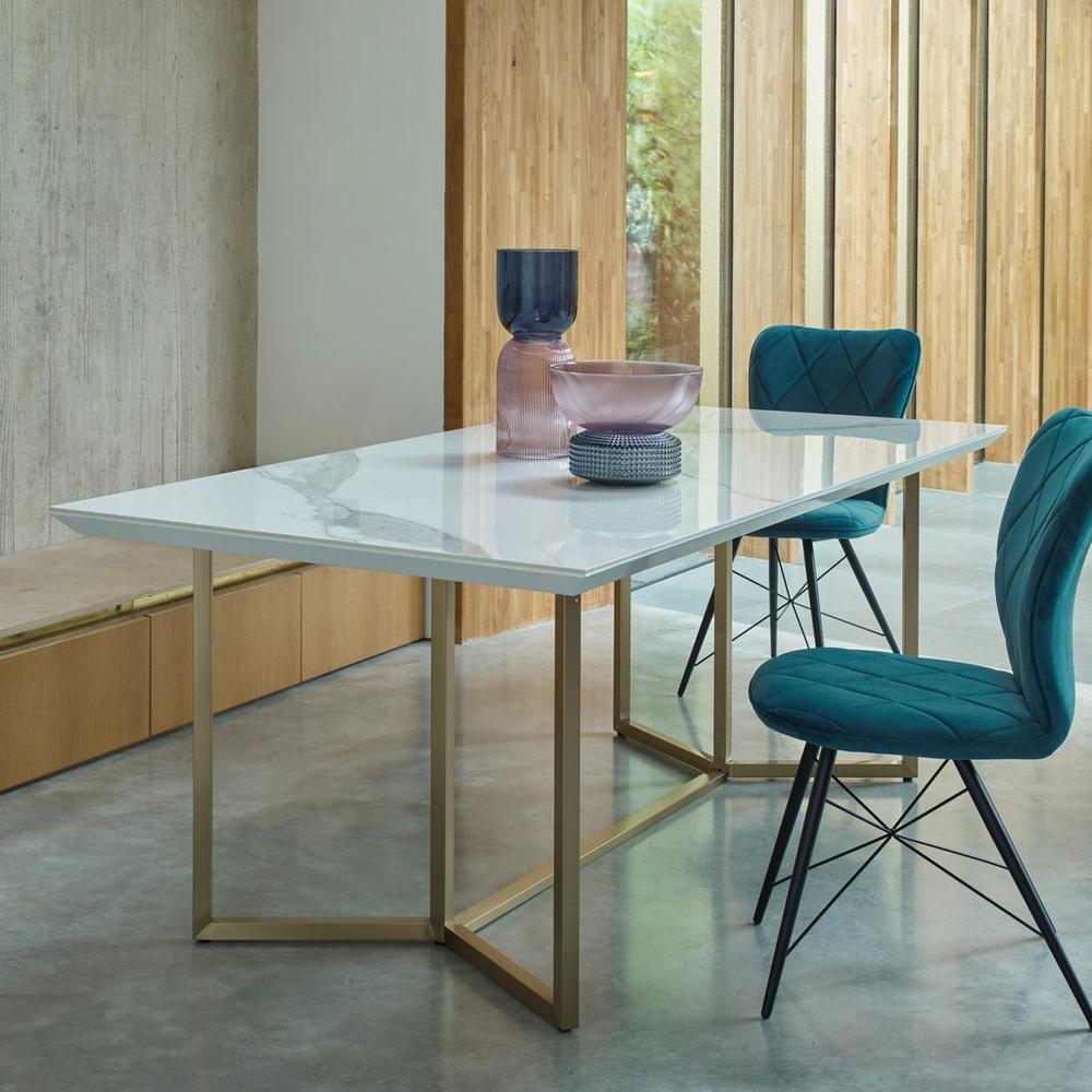 Molveno 8-10 seater dining table marble ceramic and brass