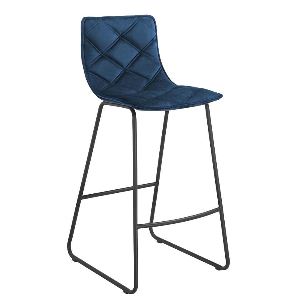 Portela velvet counter bar stool blue