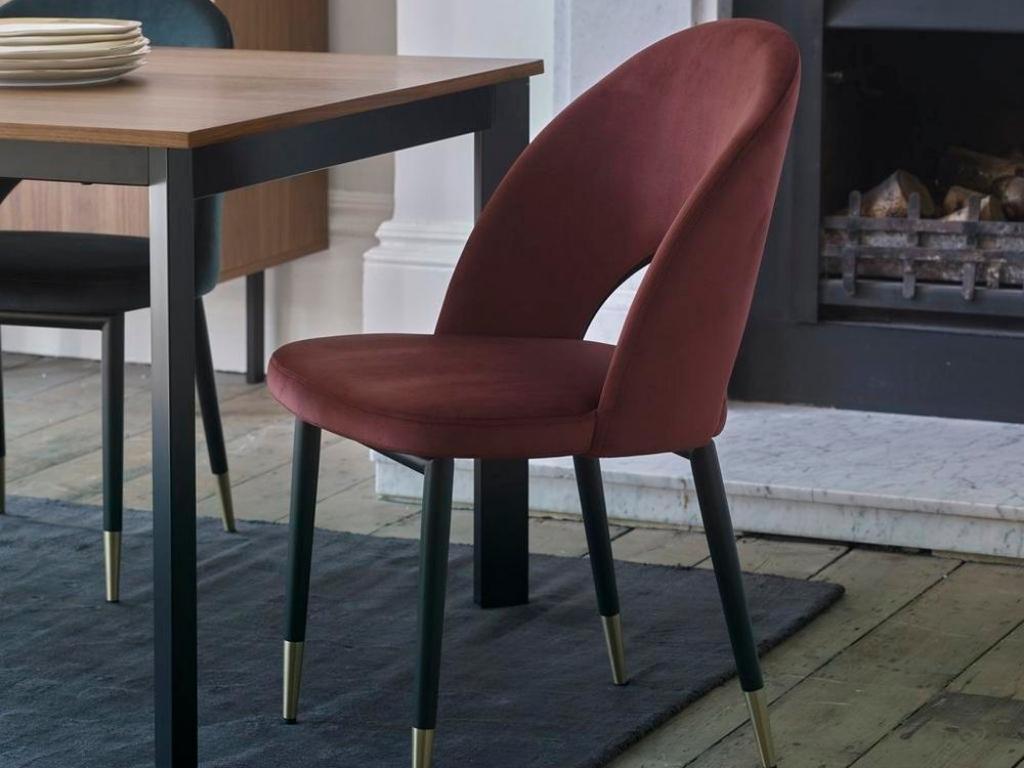 Comida Dining Chair Burgundy Velvet
